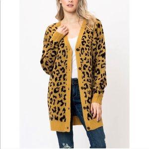 Sweaters - GABBY Leopard Print Button Down Cardigan